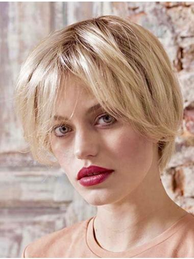 """Synthetic Straight 8"""" Platinum Blonde Bobs Ladies Monofilament Wigs"""