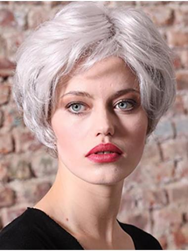 Grey Short 100% Hand-tied Straight Synthetic Women Classic Wig