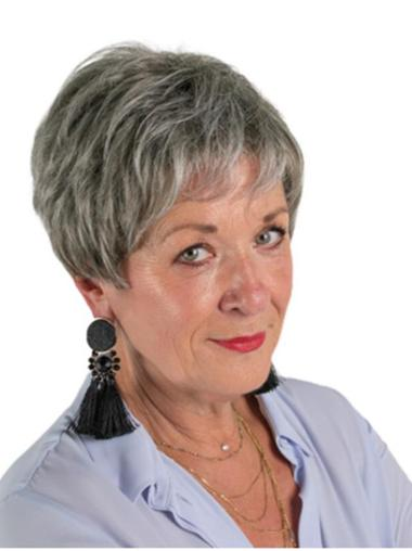 """8"""" Monofilament Short Grey Layered Discount Wigs For Elderly Lady"""