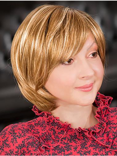"""Monofilament Chin Length 10"""" Blonde Bobs Good Quality Synthetic Wigs"""