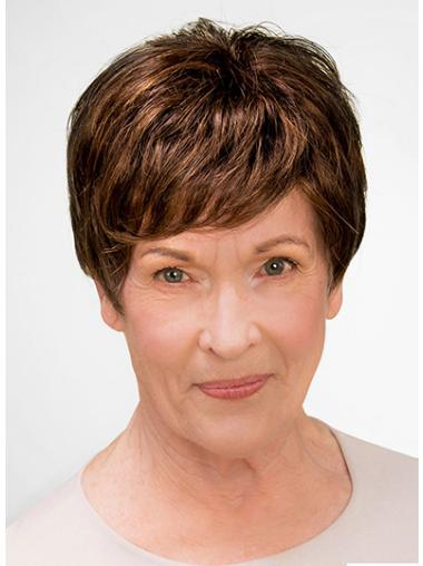 "100% Hand-tied Short 8"" Brown Boycuts Good Synthetic Wigs"
