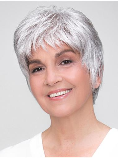 "100% Hand-tied Short 8"" Grey Boycuts Synthetic Wigs Good Quality"