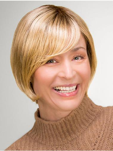 Blonde Chin Length 100% Hand-tied Straight Synthetic Bob Style Wig