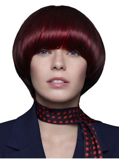 Red Chin Length 100% Hand-tied Straight Remy Human Hair Wigs Bobs