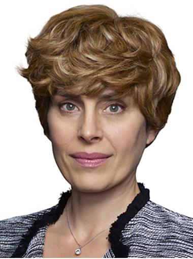"""100% Hand-tied 8"""" Short Curly Blonde Best Human Hair Wigs"""