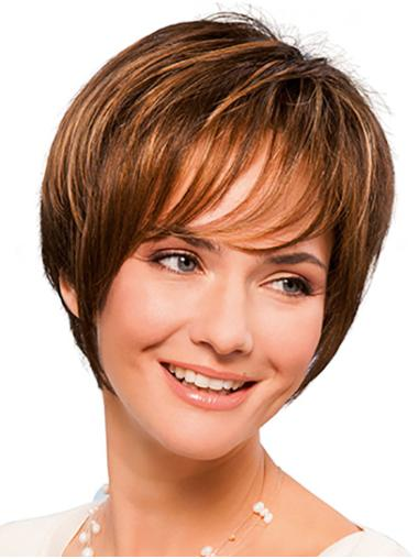 """Short Copper 8"""" Straight With Bangs Hand Tied Wigs"""