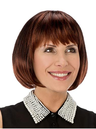"Synthetic Straight 10"" Copper Bobs Monofilament Wigs For Women"