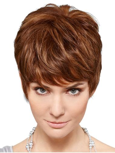 Blonde Short 100% Hand-tied Wavy Synthetic Classic Wig For Women