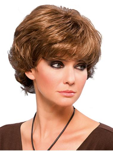 """Short 8"""" Layered Blonde Wavy Cheap Lace Front Wigs"""