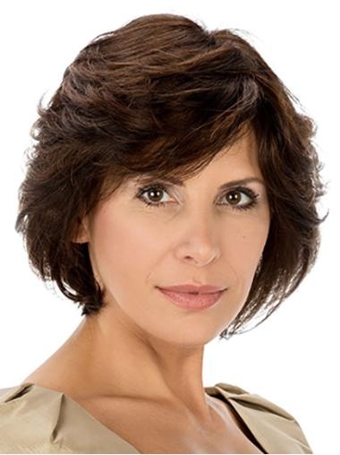 Brown Chin Length 100% Hand-tied Wavy Synthetic Best Quality Classic Wigs
