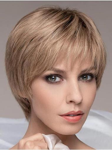 "Cropped 6"" Boycuts Blonde Straight Lace Front Wigs"
