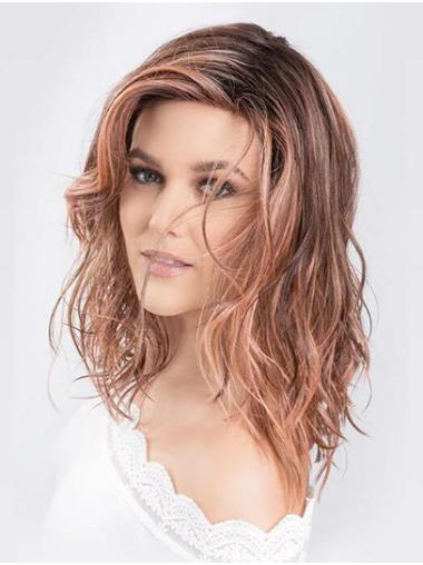 Wavy Brown Monofilament Without Bangs Synthetic Cheap Medium Wigs