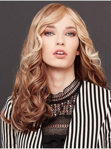 Long Wavy Monofilament Blonde Without Bangs Human Hair Wigs For Sale