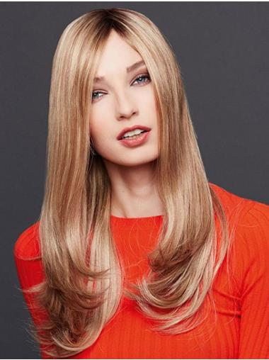 Long Straight Blonde Monofilament Without Bangs Best Quality Lace Wigs