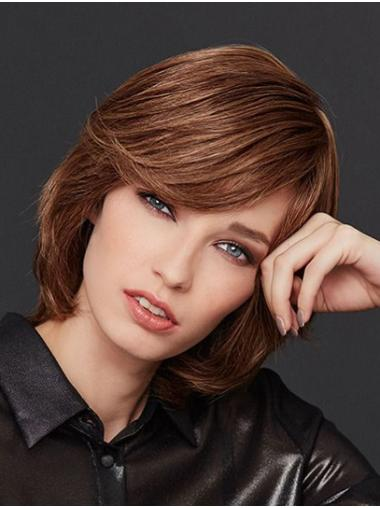 """10"""" Straight Monofilament Brown Remy Human Hair With Bangs Women Wig Medium"""