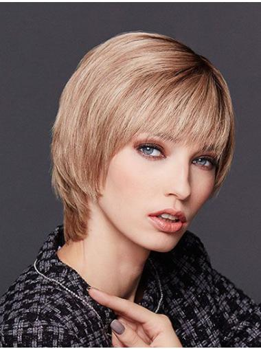 """10"""" Chin Length Straight Blonde Remy Human Hair With Bangs Ladies Monofilament Wigs"""