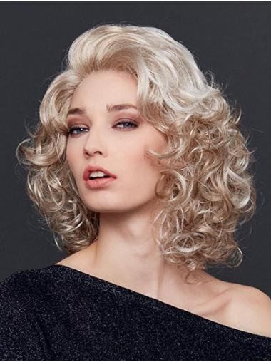 "12"" Shoulder Length Curly  Blonde Synthetic Without Bangs Natural Lace Front Wigs"