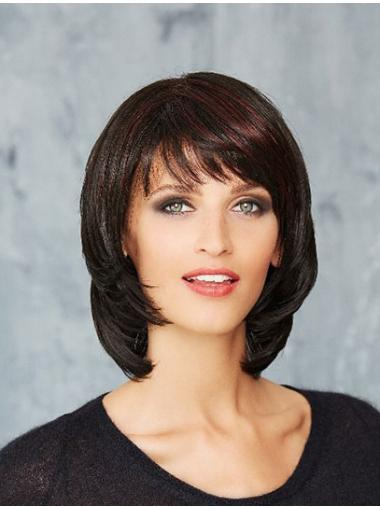 "10"" Chin Length Straight Monofilament Black Bobs Sleek Synthetic Wigs"
