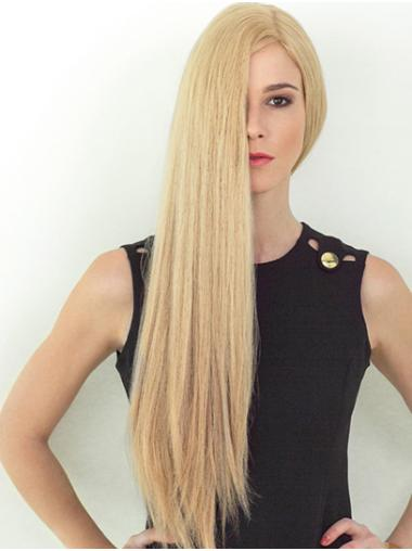 Long Straight Blonde Remy Human Hair Layered Soft Hand Tied Wigs