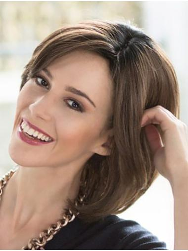Chin Length Straight Brown 100% Hand-tied Bobs Buy Lace Wigs