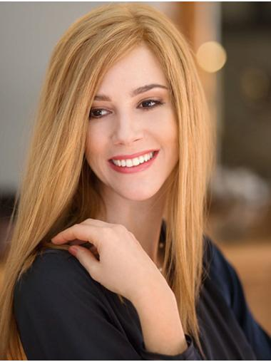 Long Straight Blonde Remy Human Hair Layered Sassy Hand Tied Wig