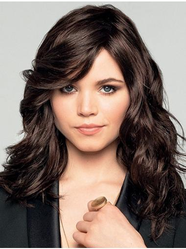 """16"""" Long Wavy Brown Synthetic Bobs Discount Monofilament Wigs"""
