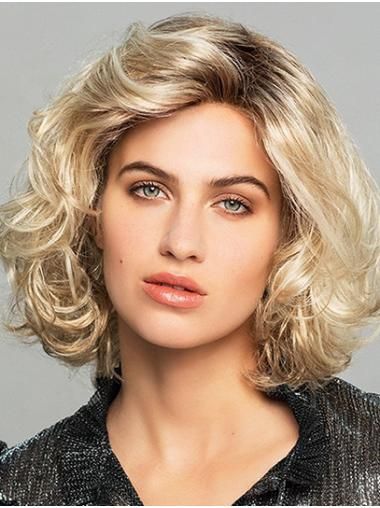 Chin Length Curly Lace Front Ombre/2 tone Synthetic Modern Bob Wigs