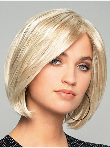 """10"""" Chin Length Straight Platinum Blonde Synthetic Bobs Monofilament Wigs Designed"""