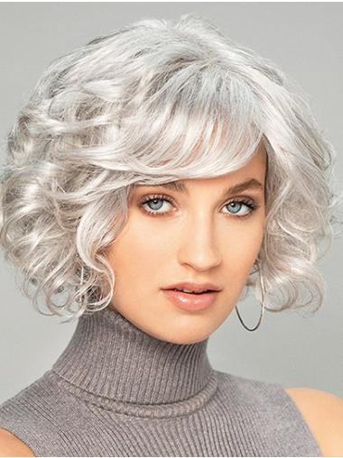 Chin Length Curly Capless Platinum Blonde Synthetic Great Bob Wigs
