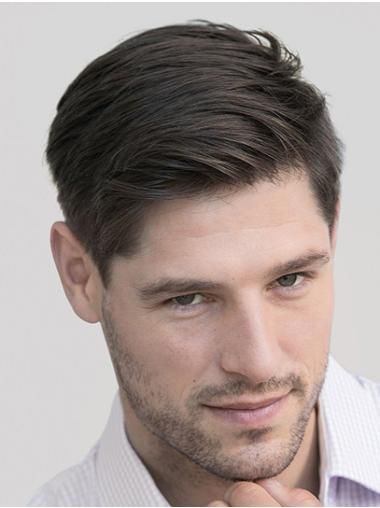 """4"""" Cropped Straight Black Synthetic Grey Men Wigs"""