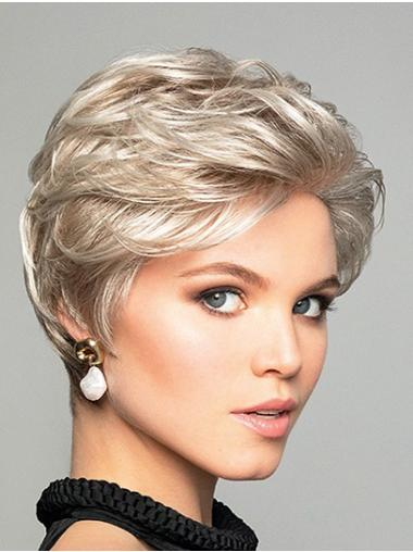 "6"" Short Wavy Platinum Blonde Synthetic Without Bangs Fabulous Lace Front Wigs"