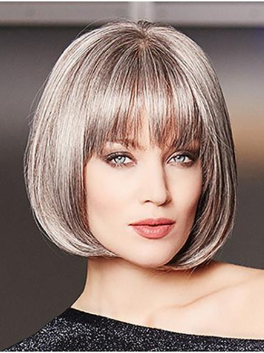"10"" Chin Length Straight Monofilament Platinum Blonde Bobs High Quality Synthetic Wigs"