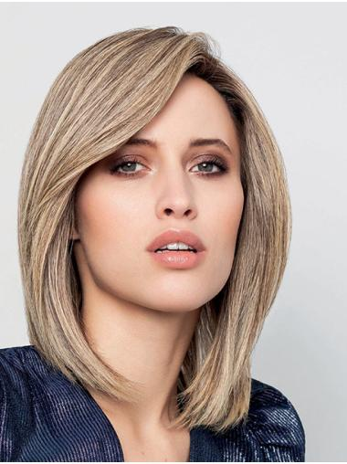 """Straight 12"""" 100% Hand-Tied Chin Length Remy Human Hair Blonde Best Bob Wigs"""