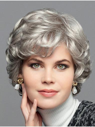 """100% Hand-Tied Curly Chin Length Synthetic 10"""" Bobs Grey Wig"""