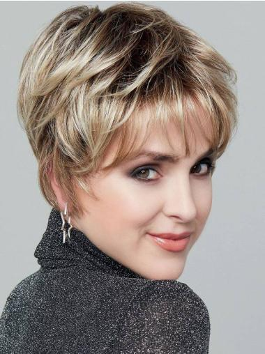 """Straight 6"""" Blonde Monofilament Layered Synthetic Incredible Short Wigs"""