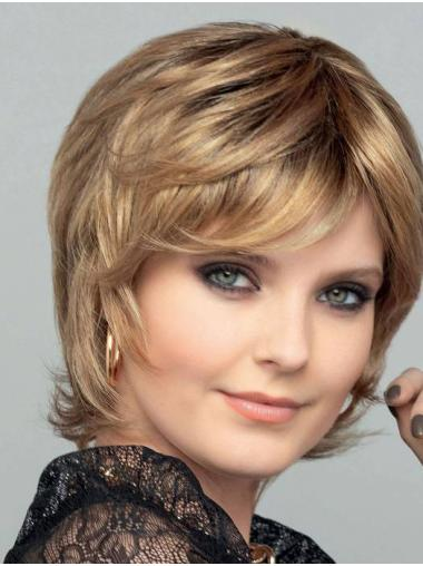 Chin Length Blonde 100% Hand-Tied Bobs Straight Synthetic Wigs Women