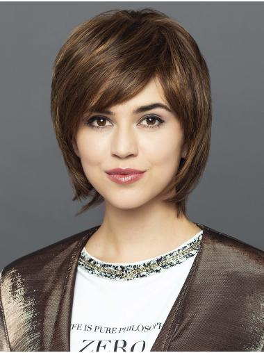 """Straight 10"""" 100% Hand-Tied Chin Length Synthetic Brown Bob Wigs"""