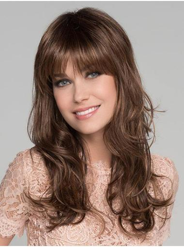 """Wavy Brown Synthetic Monofilament 16"""" Female Long Wigs"""