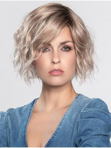 """Curly Platinum Blonde Without Bangs Monofilament 12"""" Durable Synthetic Wigs"""