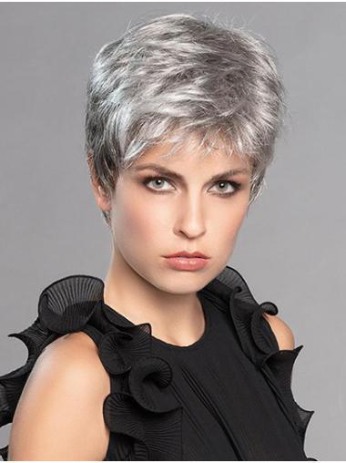"Straight Platinum Blonde Layered Monofilament 6"" Natural Short Wigs"