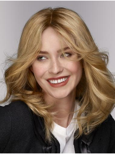 Shoulder Length Blonde Without Bangs Wavy Synthetic Top Quality Lace Wigs