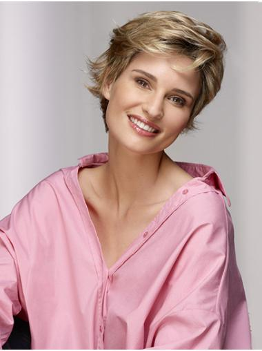 Short Blonde Layered Wavy Synthetic Natural Lace Front Wig