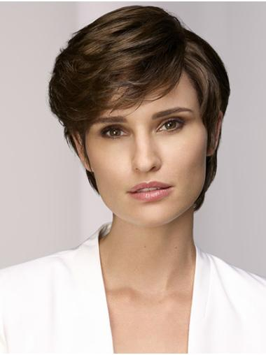 """Straight Brown With Bangs Monofilament 8"""" Synthetic Wigs Online"""