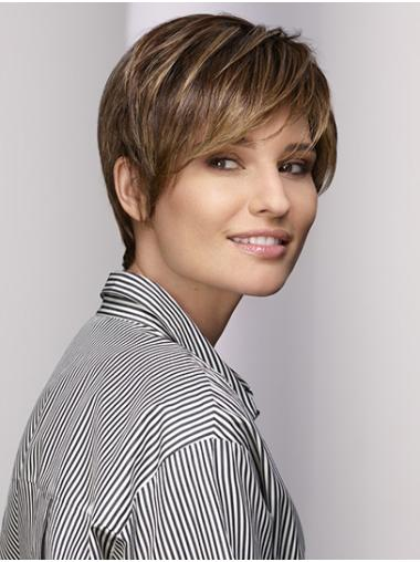Short Brown With Bangs Straight Synthetic Lace Front Wigs