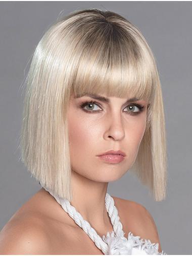 "Straight Platinum Blonde Synthetic Chin Length 12"" Bobcut Wig"