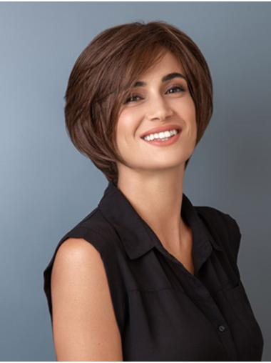 "Straight Brown Synthetic Chin Length 10"" Sleek Bob Wigs"