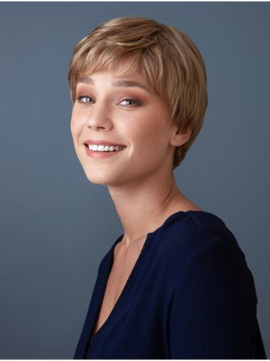 Short Blonde With Bangs Straight Synthetic Best Lace Front Wig