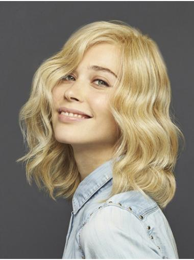 Shoulder Length Blonde Without Bangs Wavy Synthetic No Glue Lace Wigs