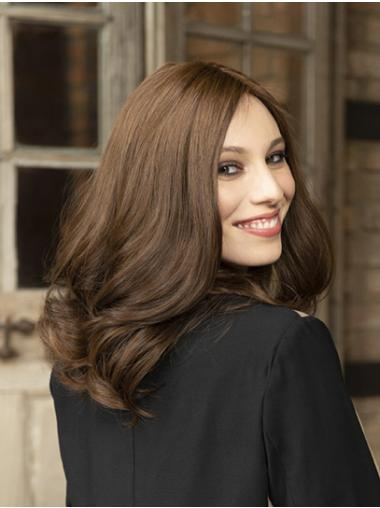 Shoulder Length Brown Without Bangs Wavy Synthetic Sleek Lace Front Wigs