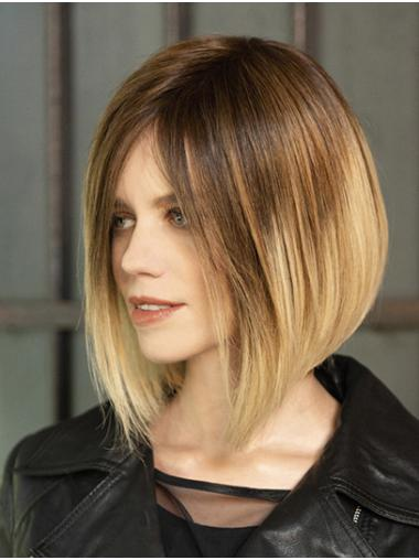 Chin Length Ombre/2 Tone Bobs Straight Synthetic Fabulous Lace Front Wigs